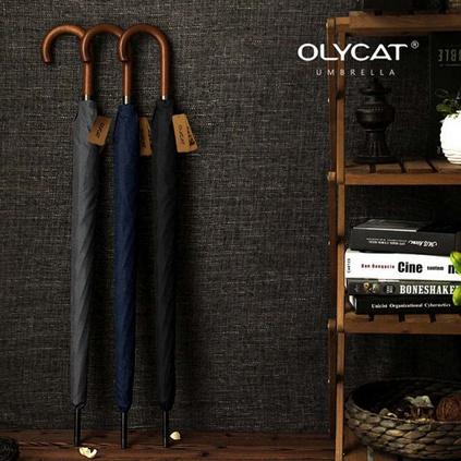 OLYCAT双人伞木柄弯把长款自动伞 男式商务晴雨伞 纯色防风大伞定制
