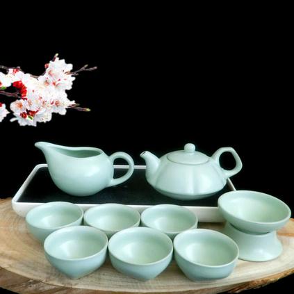 汝窑整套功夫茶具套装特价陶瓷盖碗茶杯 高