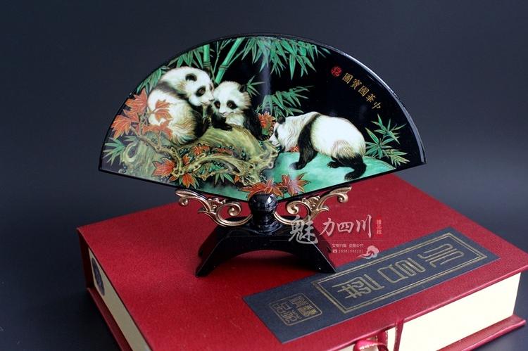魅力四川成都旅游特色纪念品熊猫扇摆件