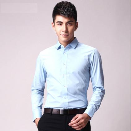 男士长袖薄款纯色衬衫 商务修身男士衬衫