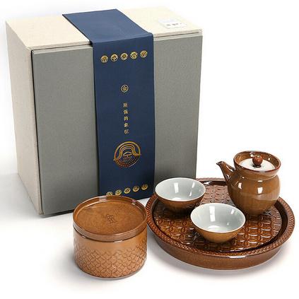 五行粗陶茶具简约日式功夫茶具套装一壶两杯