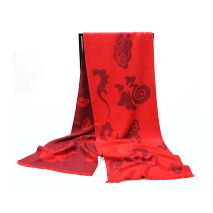 艾丝雅兰 A-D302中国红蚕丝绒围巾定制
