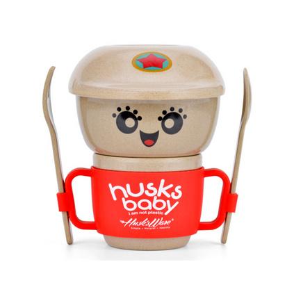 壳氏唯(HUSKS WARE)天然稻壳碗盘水杯叉勺儿童餐具套装定制
