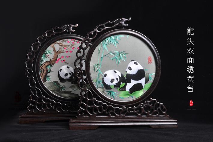 四川蜀繡工藝禮品熊貓蜀繡手工刺繡雙面繡擺件送老外出國會議禮品