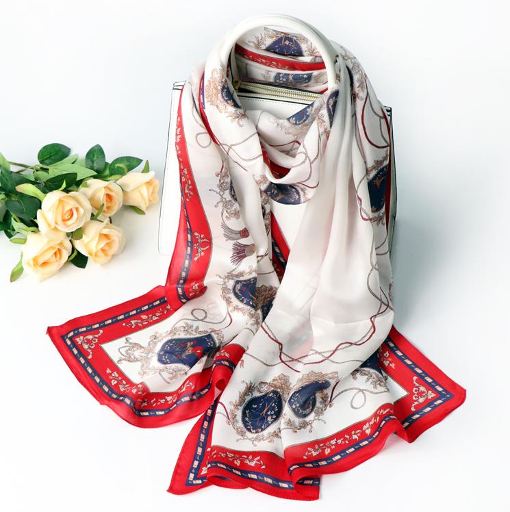 真絲長款絲巾100%桑蠶絲紅色圍巾